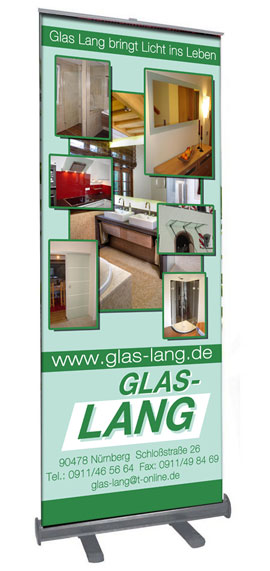 Roll Up Display Glas Lang