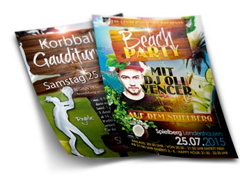 Flyer Beachparty und Korbballgauditurnier