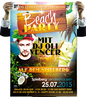 Plakat Poster Beachparty