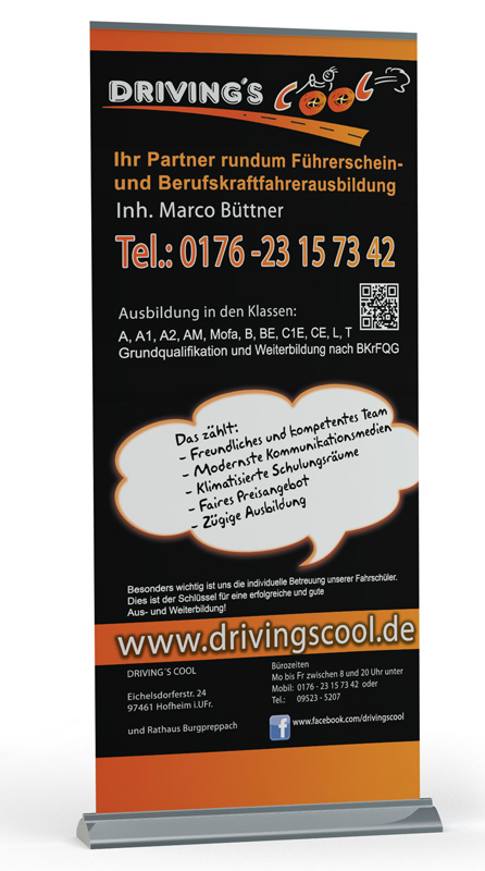 Roll Up Display Fahrschule Driving´s Cool Hofheim